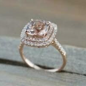 Cushion Morganite & Diamond Ring