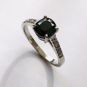 Fancy Cushion Cut Black Diamond Ring