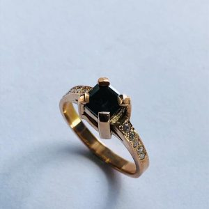 Fancy Emereld Cut Black Diamond Ring