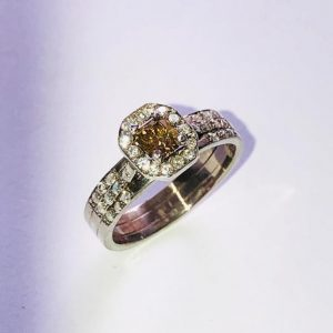 Fancy Greenish-Brown Diamond Ring